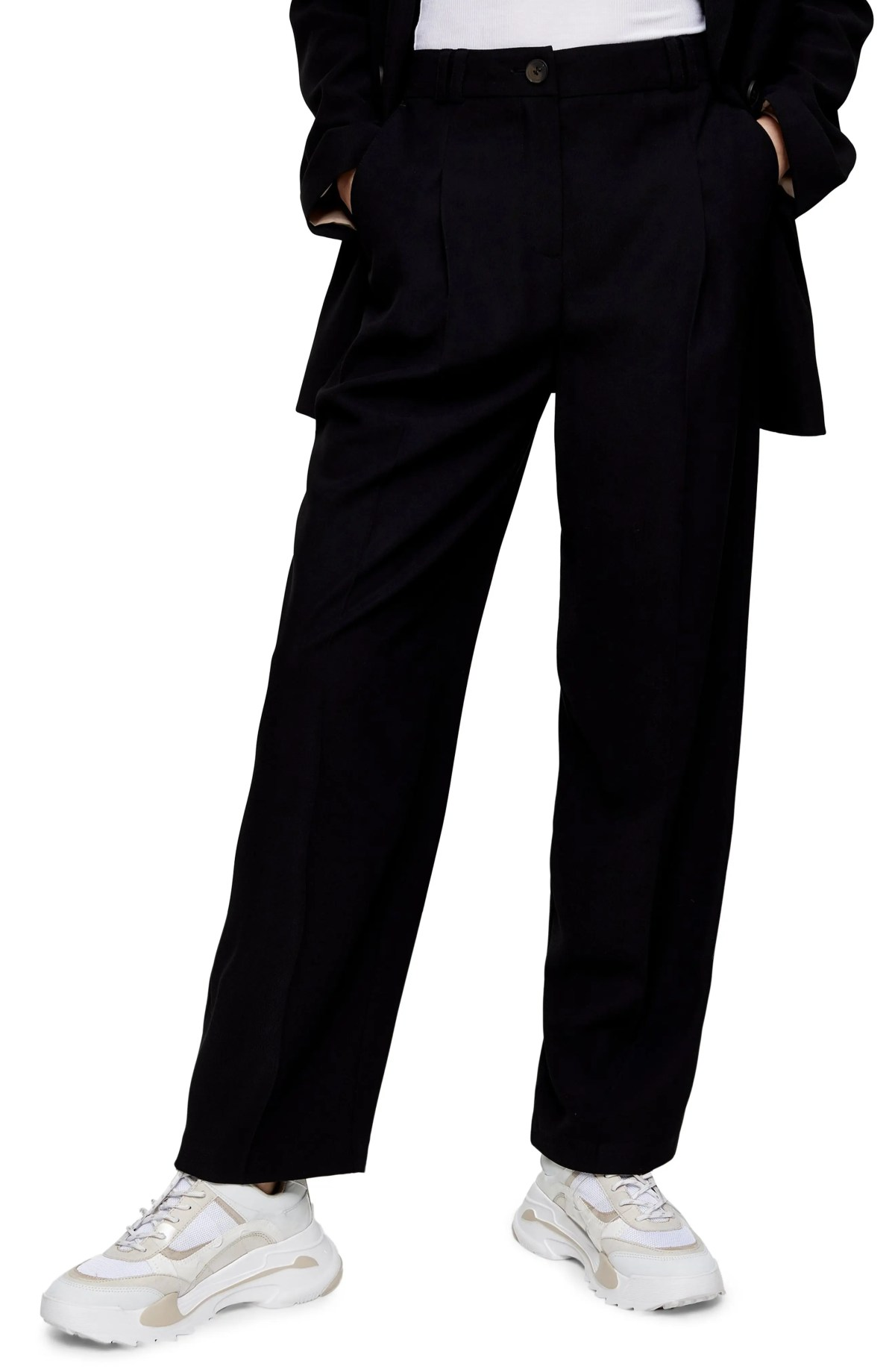 TOPSHOP Twill Peg Suit Trousers, Main, color, BLACK