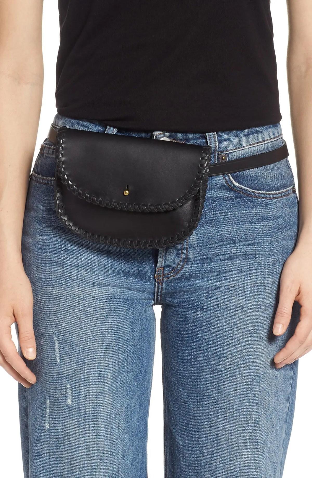 MADEWELL Whipstitch Belt Bag, Alternate, color, TRUE BLACK