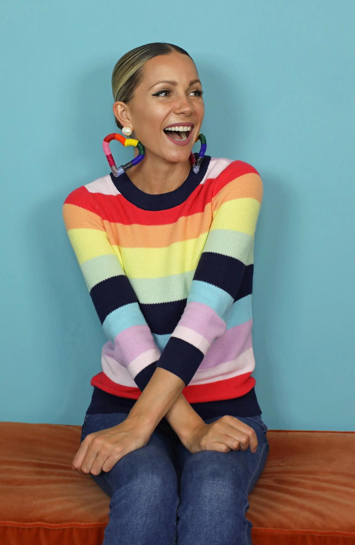 HALOGEN<SUP>®</SUP> x Atlantic-Pacific Three Quarter Sleeve Sweater, Alternate, color, PINK MULTI STRIPE