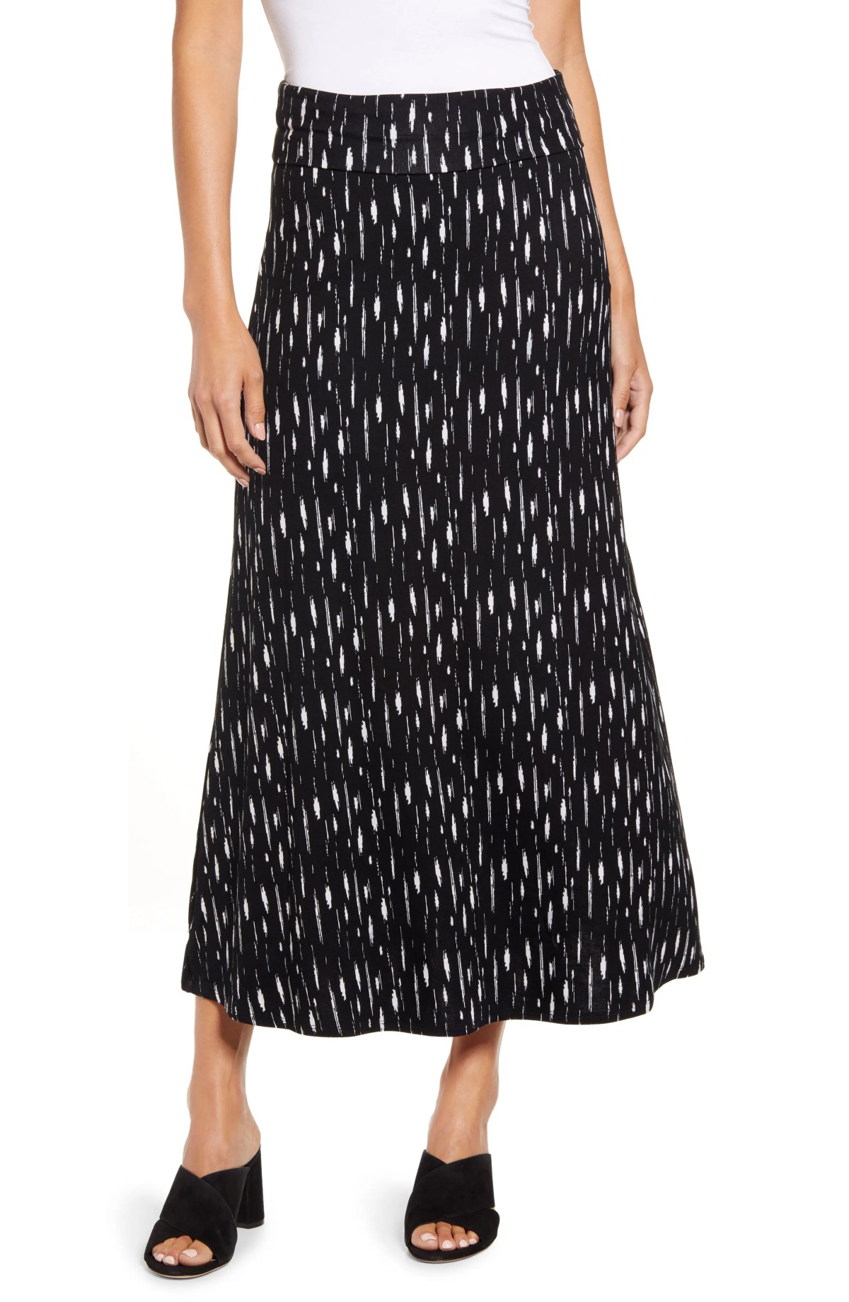 LOVEAPPELLA Roll Top Print Maxi Skirt, Main, color, BLACK/ IVORY