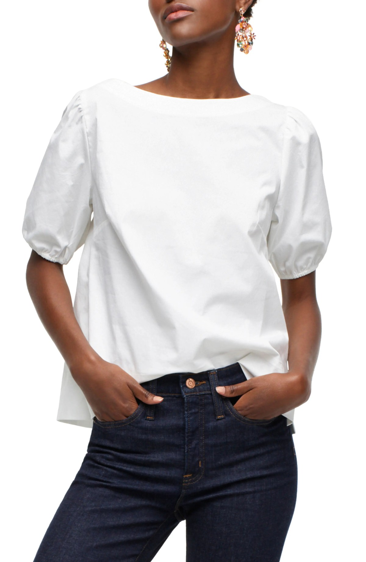 Boat Neck Puffed Sleeve Top, Main, color, WHITE
