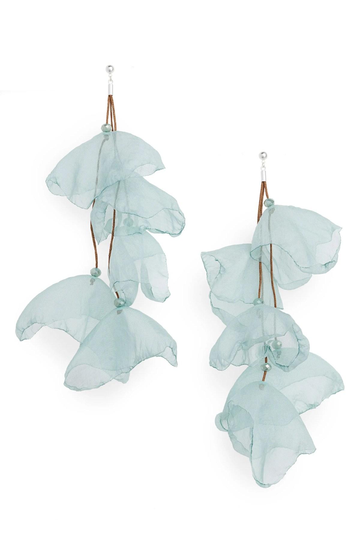 Lily Silk Chiffon Flower Drop Earrings, Main, color, SILVER/ SEAFOAM