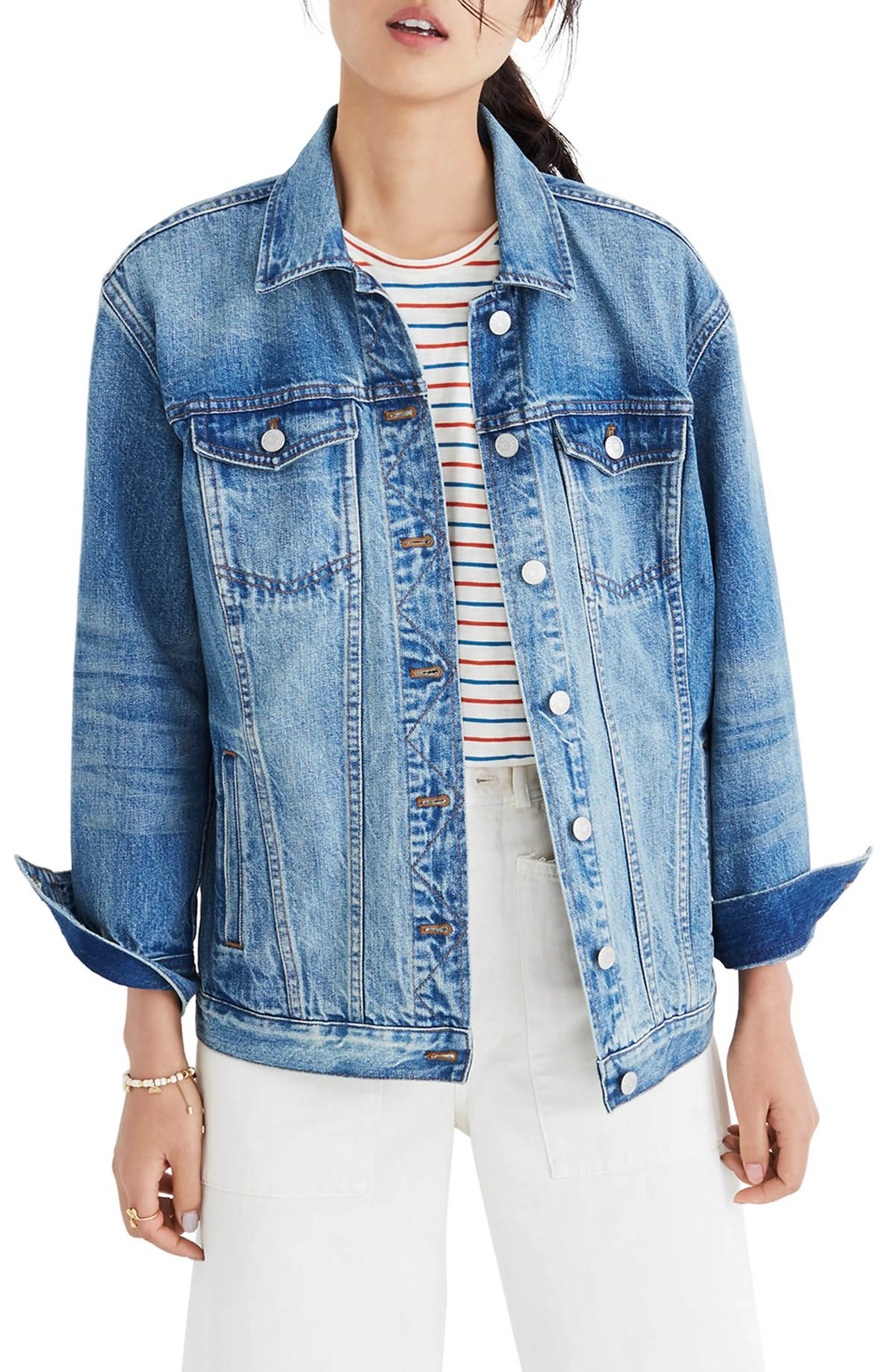Oversize Denim Jacket, Main, color, CAPSTONE WASH