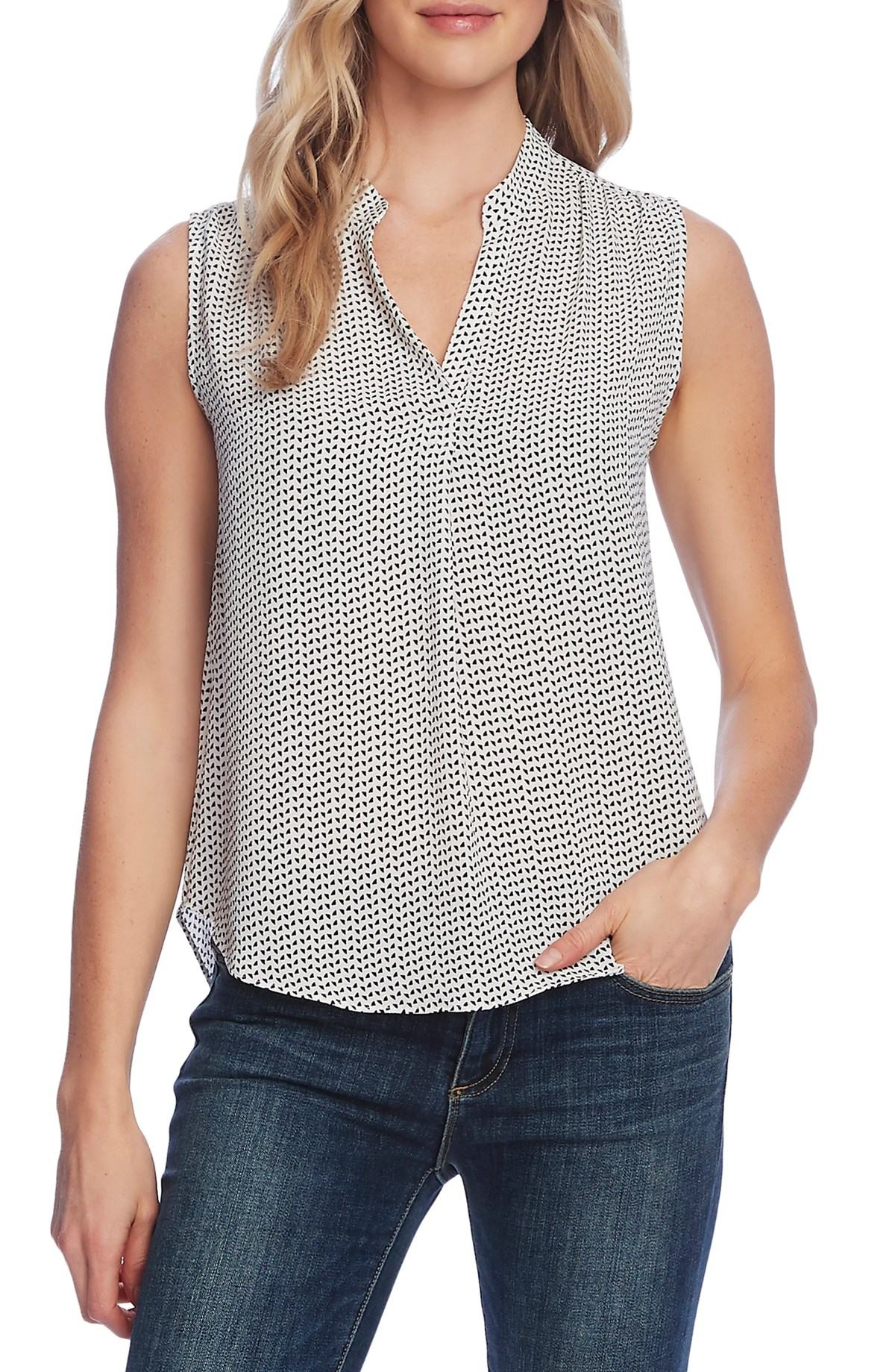 VINCE CAMUTO Print Sleeveless Top, Main, color, NEW IVORY
