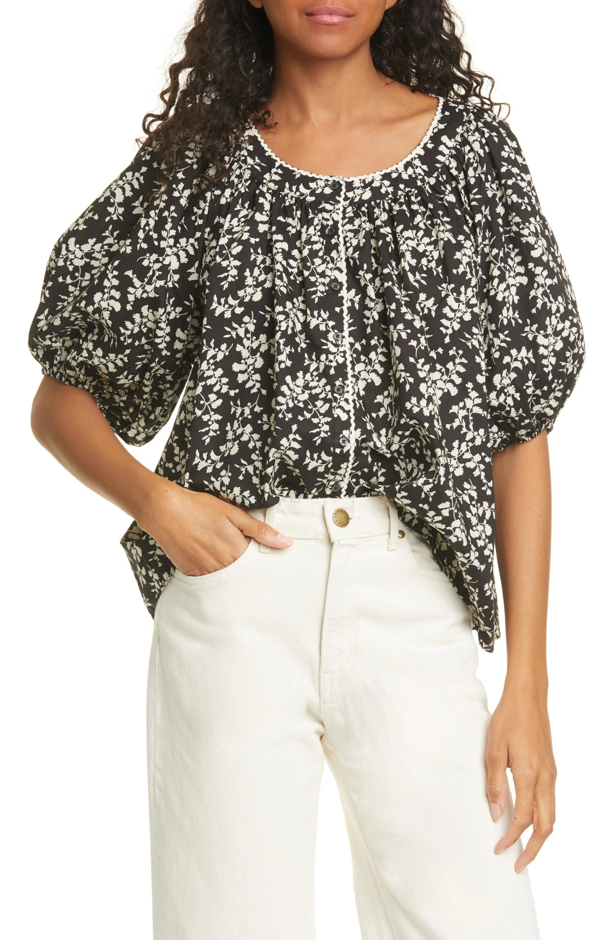 THE GREAT. The Elm Floral Puff Sleeve Top, Main, color, COTTONWOOD FLORAL