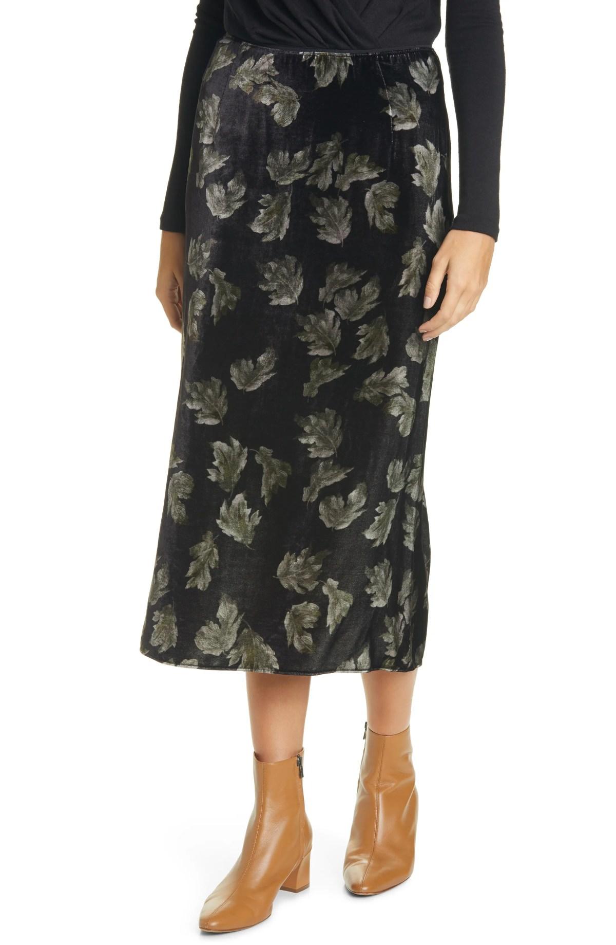 VINCE Fallen Leaf Velvet Slip Skirt, Main, color, BLACK