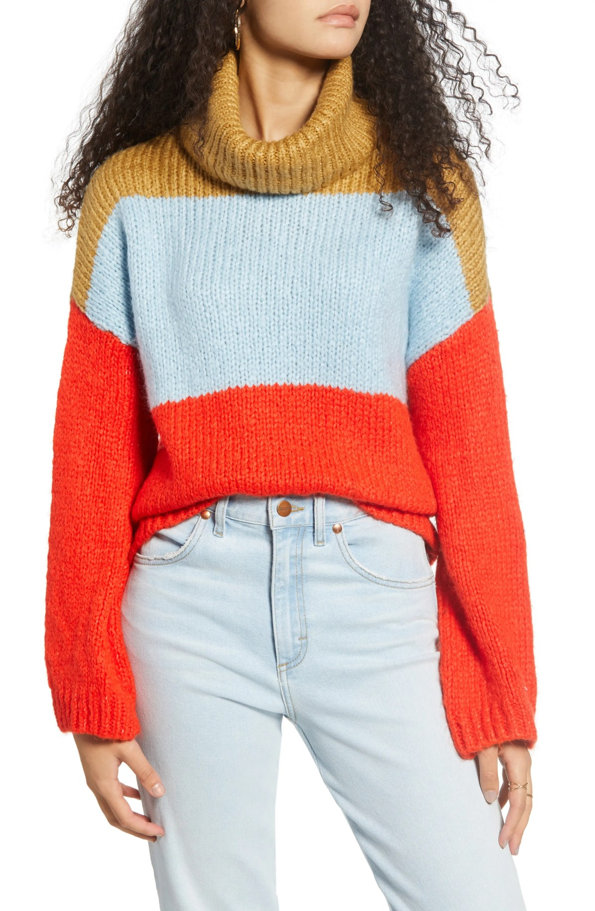 WOVEN HEART Chunky Colorblock Turtleneck Sweater, Main, color, MULTI