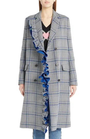 Women's Msgm Ruffle Plaid Coat, $985.0