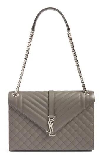 e34d807ad23 Saint Laurent Large Monogramme Calfskin Leather Shoulder Bag – Blue –  NORDSTROM.com – $2,590.00