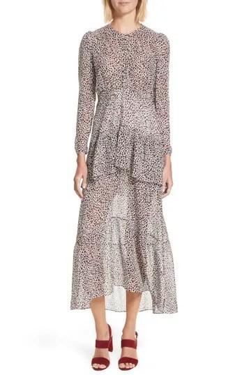 Women's A.l.c. Zandra Leopard Print Silk Midi Dress, $645.0