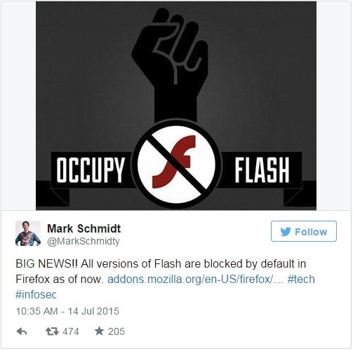火狐瀏覽器已默認禁用Flash:用戶仍可手動開啟