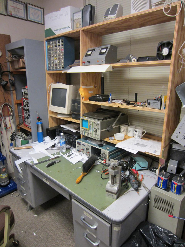 Full of surplus and hand-me-downs from the EE department labs, this fully-stocked Electronics workbench was super convenient to have.