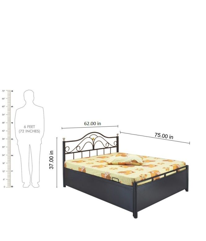 Queen Size Hydraulic Storage Bed With Free Foam Mattress