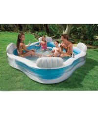 INTEX Swim Centre Family Lounge Pool with 4 Seats Backyard ...