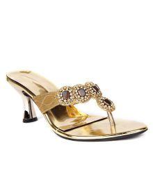 Reyna Impressive Golden Slip On Heels
