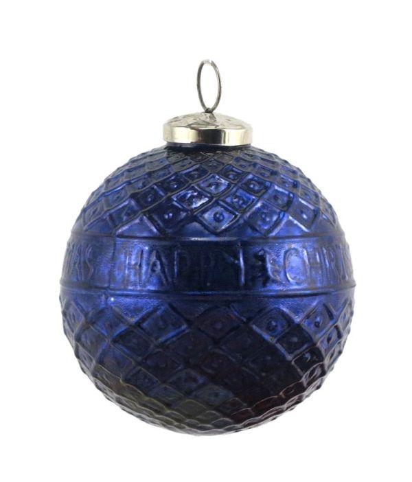Importwala Textured Christmas Blue Hanging Ball