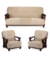 Teak Wood 5 Seater Sofa Set 3+1+1   Cream   Buy Teak ...