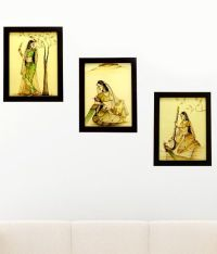 3 Piece set of framed wall art - Singing Women and Peacock ...