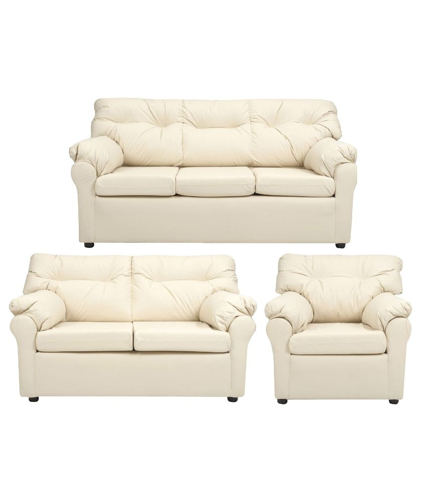 Buy Elzada 6 Seater Sofa Set 3 2 1 In White Online At Best Prices In India On Snapdeal