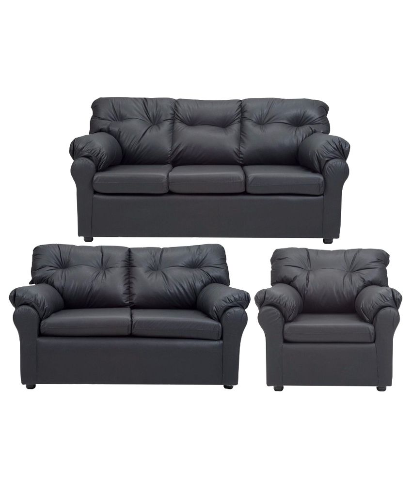 Buy Elzada 6 Seater Sofa Set 3 2 1 In Black Online At Best Prices In India On Snapdeal