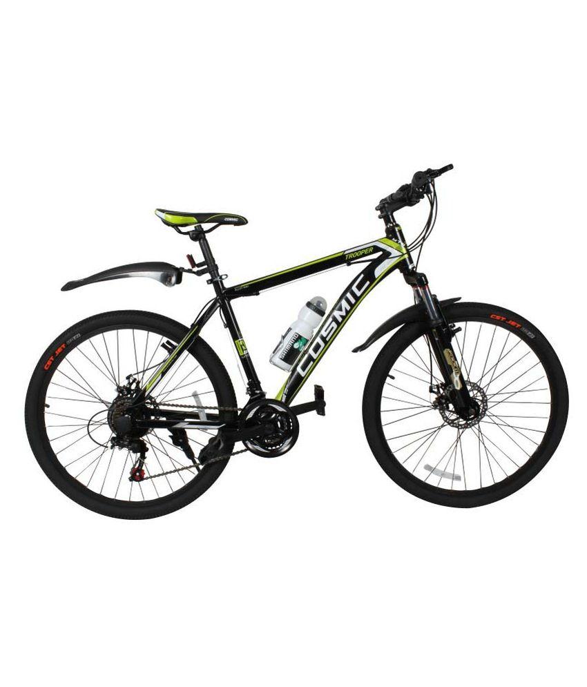 Cosmic Trooper Disc Brake 21 Speed Mtb Bicycle Black/green