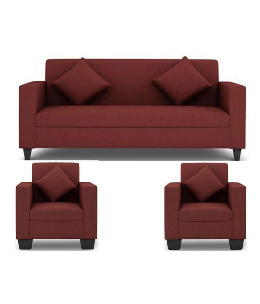 best sofa set under 10000 recliner sets near me westido 5 seater in maroon upholstery with cushions buy