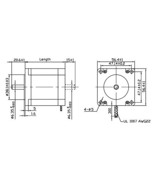 small resolution of  robodo stepper motor nema 23 10 1 kg cm bipolar hybrid