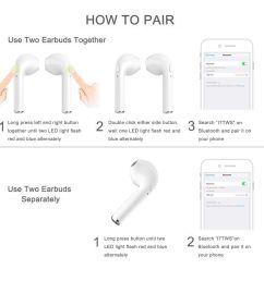rewy i7 tws wireless music earphone bluetooth headset white  [ 1500 x 1500 Pixel ]
