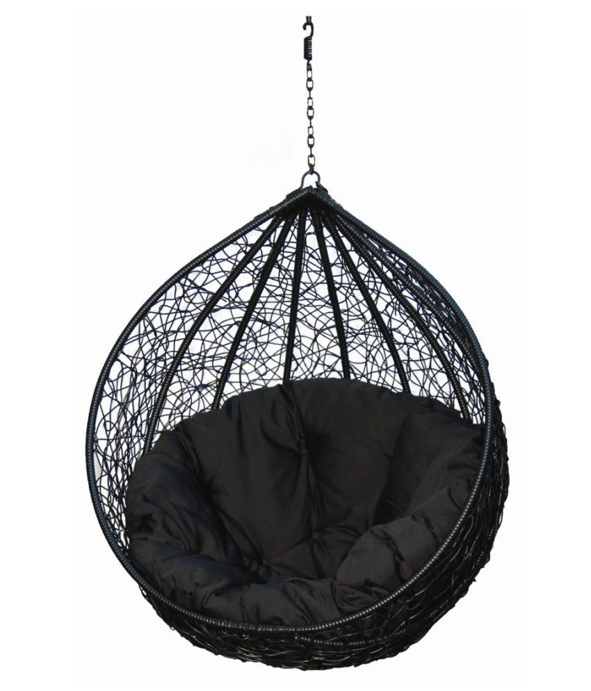 Hanging Chair Outdoor Carry Bird Hanging Swing Chair With Cushion Hook Color Black For Outdoor Indoor Balcony Garden Patio Jhula