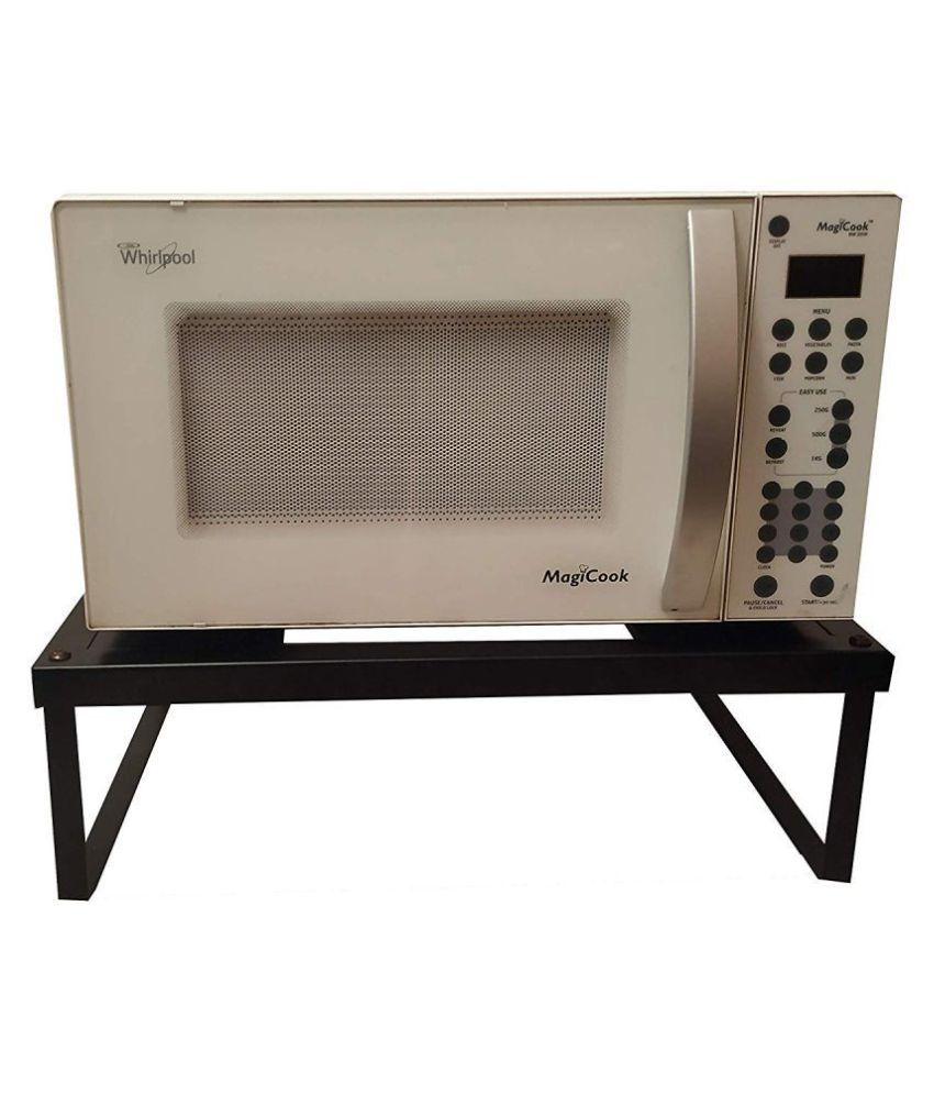 black microwave oven fix stand for kitchen platform floor 50 cm x 36 cm x 15 cm metal universal stand