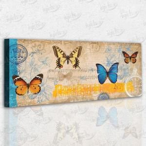 Kelebekler – Nostaljik Kanvas Tablo