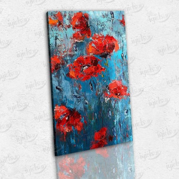 Kırmızı Çiçekler Temalı Kanvas Tablo