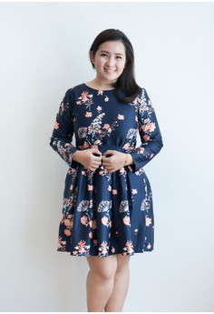 Isois Fashion  Long Sleeve Oriental Flower Print Full Dress