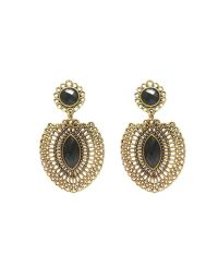 Charvee Gold Oxidised Black Stone Earrings: Buy Charvee ...