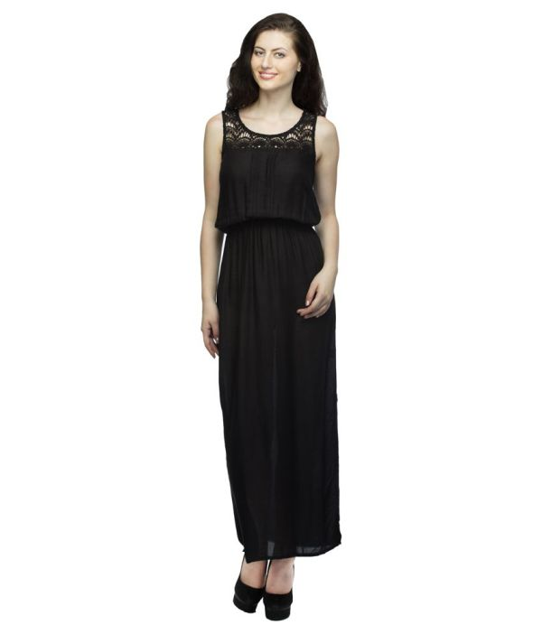 Wisstler Black Rayon Maxi Dress