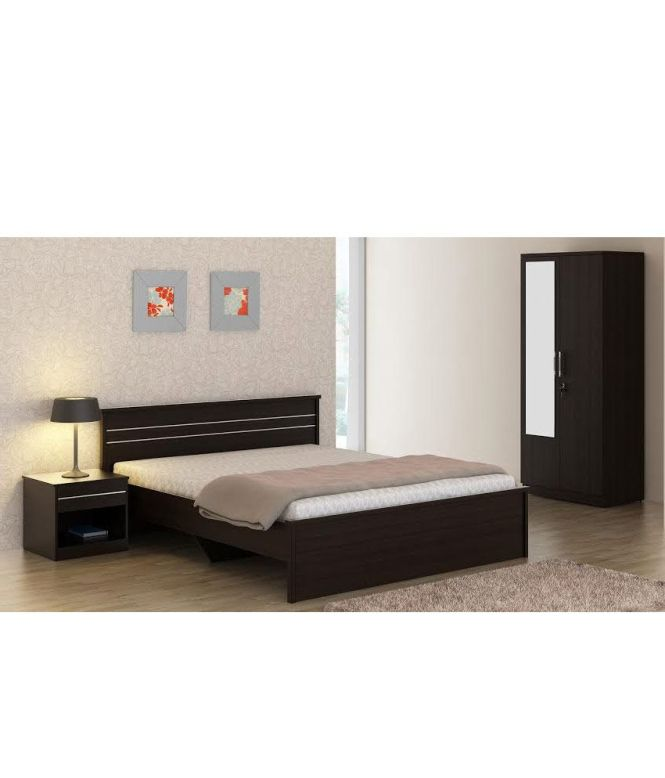 Carnival Wenge Bedroom Set Queen Bed Wardrobe With Mirror Side Table