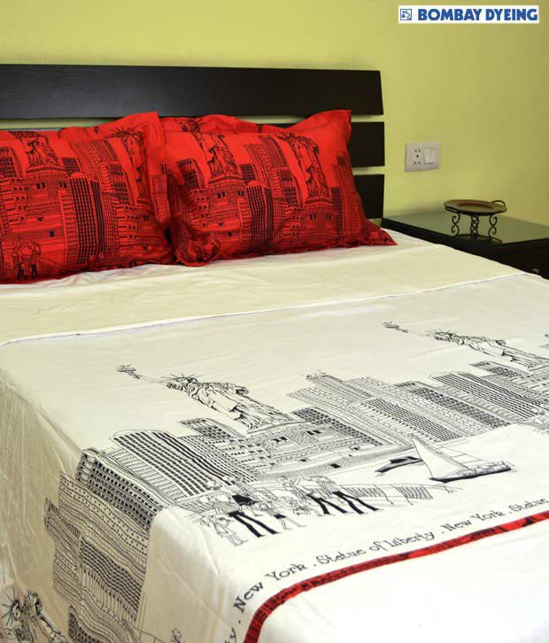 Bombay Dyeing Red Amp White Cotton Bed Sheet Set Buy