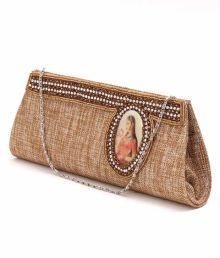 Favola Brown Lady Painted Pearl & Stone Clutch