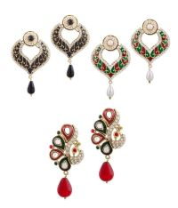 Bazarvilla 3 Pair Fashion Jewelry Earring Set: Buy