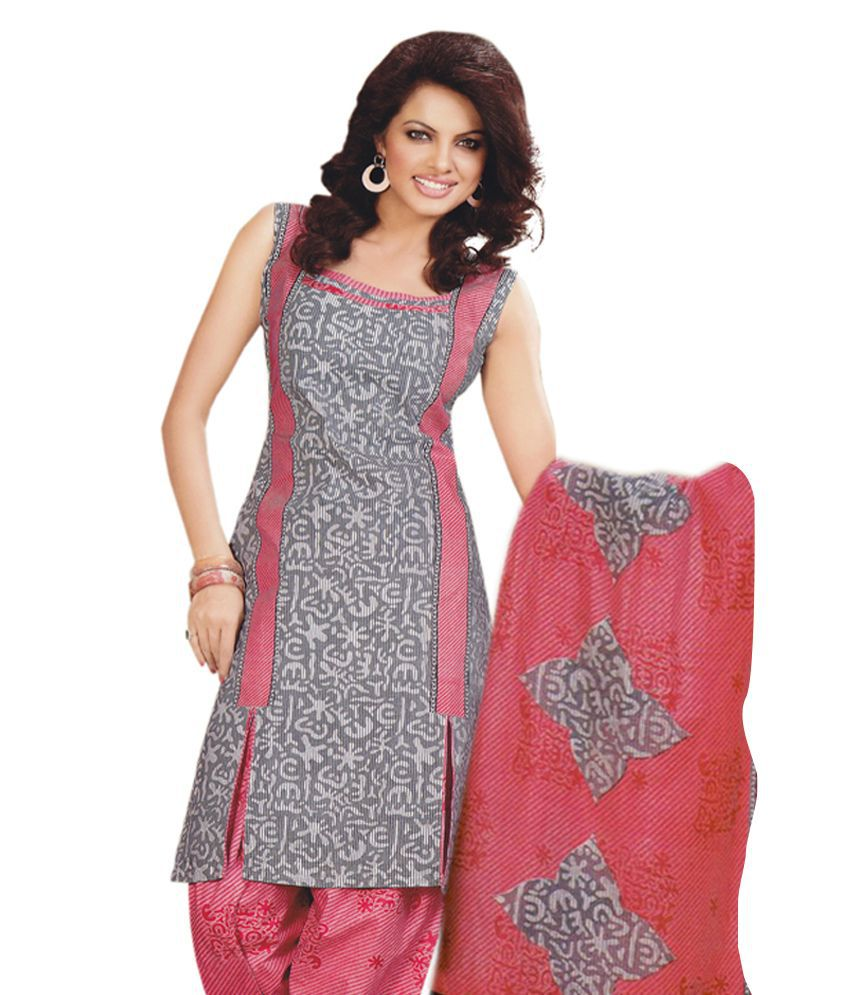 Salwar Studio Pink Cotton Unstitched Dress Material - Buy ...