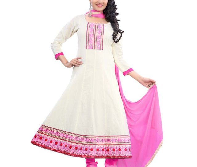 Desi Girl White And Pink Embroidered Cotton Silk Dress Material Buy Desi Girl White And Pink Embroidered Cotton Silk Dress Material Online At Best Prices
