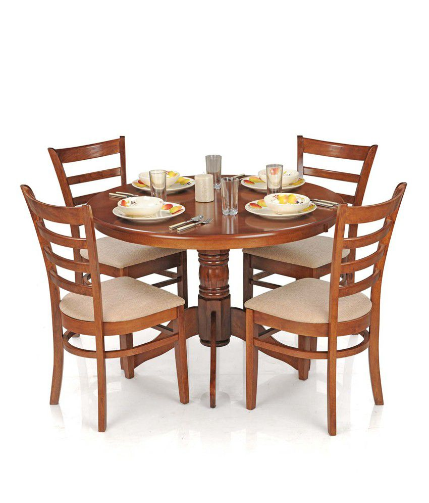 Royaloak Dining Table Set With 4 Chairs Solid Wood