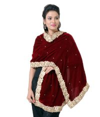 Rutbaa Maroon Velvet Embroidered Shawls Price in India ...