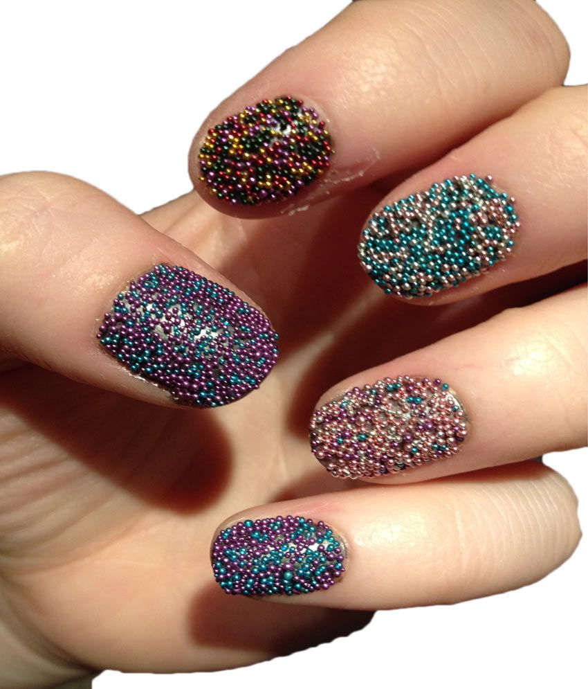Imported 12 Jar Mixed Colors Caviar Nail Art Micro Be