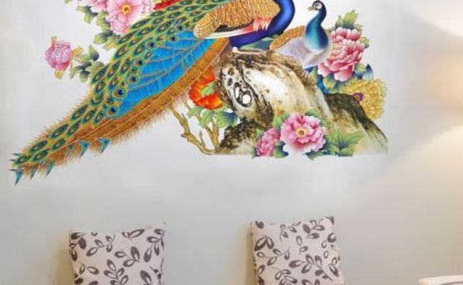 New Way Decals Royal Peacock Pvc Multicolour Wall Stickers