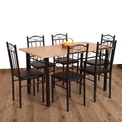 Steel Chair Flipkart Covers For Sale Amazon Eros 6 Seater Metal Plus Wooden Dining Set