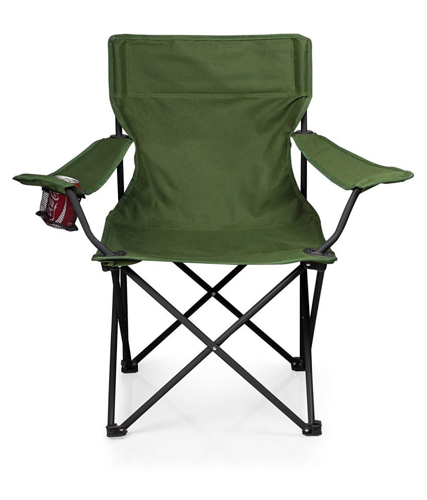 Sturdy Camping Chair Iris Heavy Duty Folding Arm Chair With Comfortable Tilted Back Green