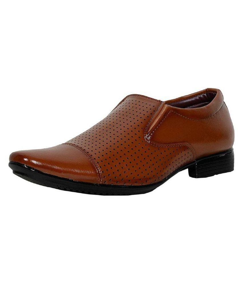 Earnam Office Genuine Leather Tan Formal Shoes Price in