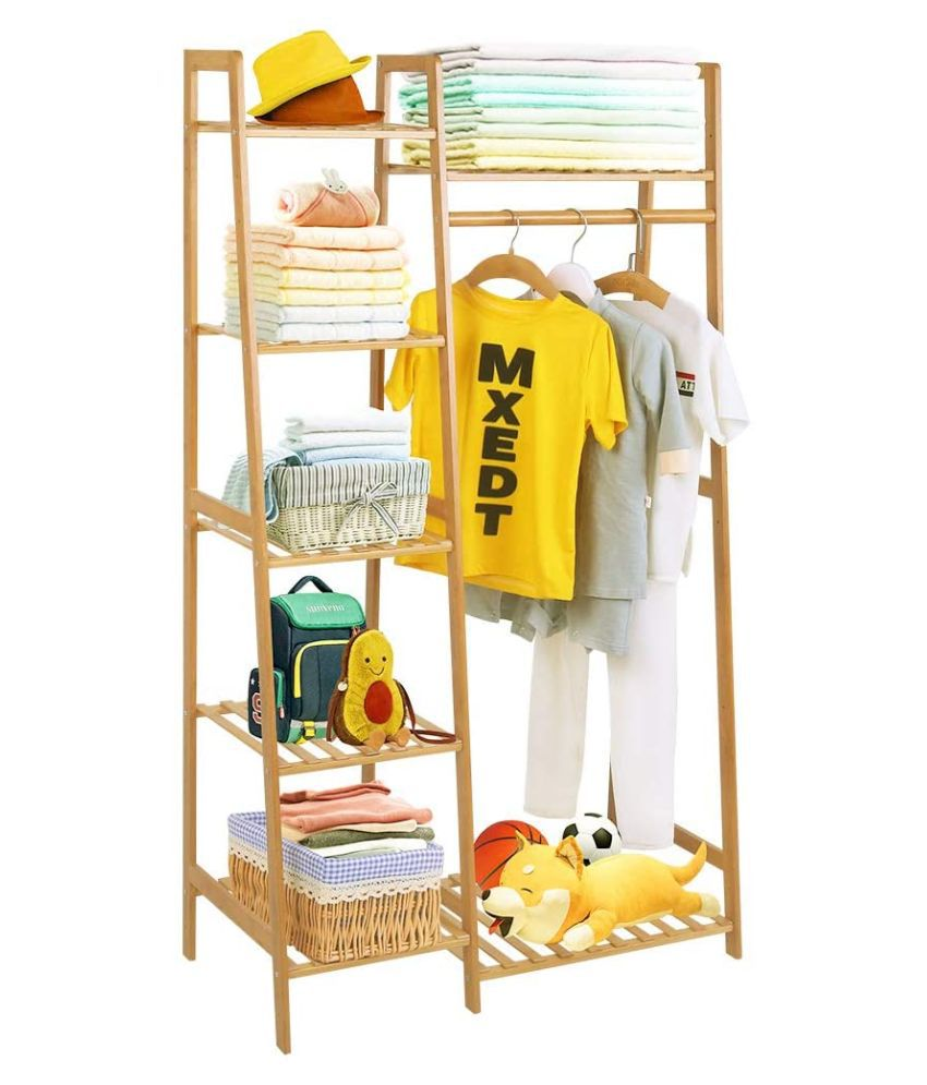 house of quirk bamboo wood garment rack clothing rack with 5 tiers storage shelf corner clothes hanging rack ladder design 80cm width