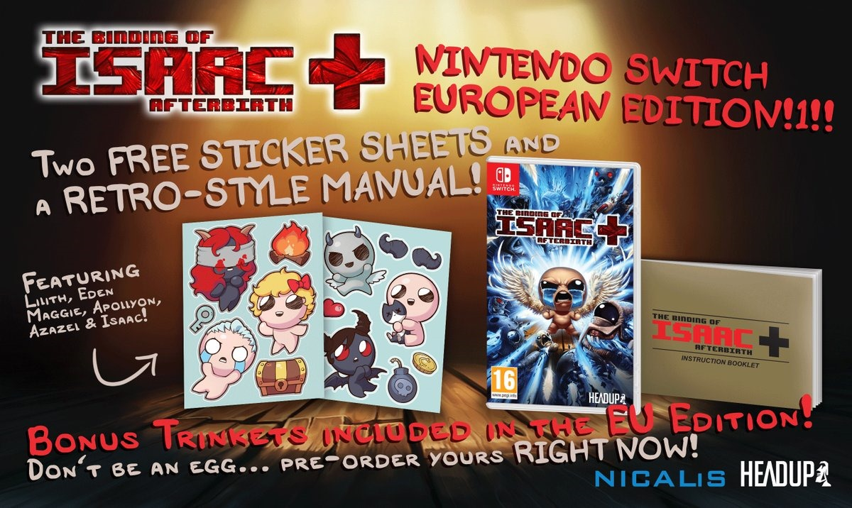 The Binding of Isaac Afterbirth+ su eShop Europeo a Settembre
